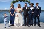 Gustav, Olivia, brudepar og forloverer